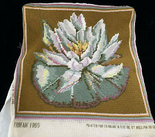 Completed Ehrman Waterlily Sand Tapestry Cushion Needlepoint Kaffe Fassett 1995