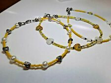 Shipping/Beaded Anklets In Yellow All Three For $7.50 Free