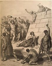 THE MARTYRDOM OF SAINT STEPHEN BY GUSTAVE DORE c.1889 PRINT