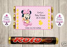 PERSONALISED mickey / minnie mouse BABY SHOWER CHOCOLATE WRAPPERS FITS ROLOS