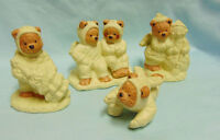 FIGURINES Set (4) Cute Holiday Collectible Angel Brown/Yellow Porcelain Bears