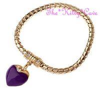 Chic Purple Enamel Heart & Crystal 18k Gold Filled Charm Bracelet Magnetic Clasp
