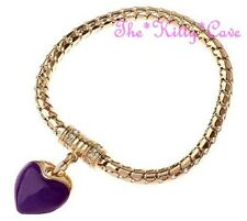 Chic Purple Enamel Heart & Crystal 18k Gold Filled Charm Bracelet Magnetic Clasp