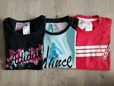 Adidas T-Shirt Set Girls Black Light Blue Red Shirt Children Sport New