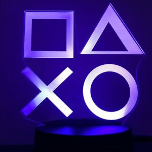 PLAY STATION PS GAMER 3D Acrylic LED 7 Colour Night Light Touch Table Lamp Gift