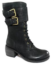 NIB $298 LUXURY REBEL LADY DEE BUCKLED CUFF ANKLE BOOTS LACE UP Women's 35 5
