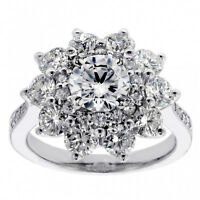 3.40 CT Brilliant Cut Large Diamond Engagement Ring in 14k White Gold NEW