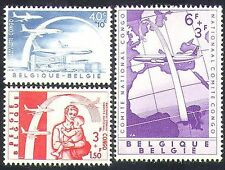 Belgium 1960 Welfare Fund/Aircraft/Planes/Transport/Refugees/Map 3v set (n37611)