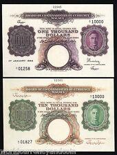 MALAYA $1000 $10000 P16 P17 1942 KING GEORGE VI UNC SOUVENIR NOTE SINGAPORE SET