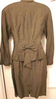 Vtg Pencil Skirt and Jacket Blazer Lined Khaki Brown Suit Petite Size 4 Italy
