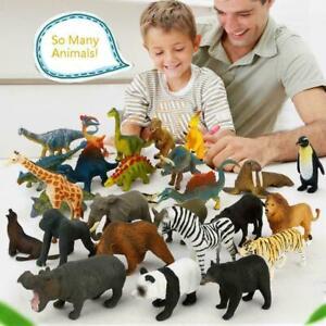12pcs Kids Small Plastic Figures Wild Ocean Farm Animals Dinosaur-Model H5