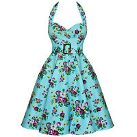 Hell Bunny May Day Blue Floral Vintage 1950s Swing Prom Dress UK