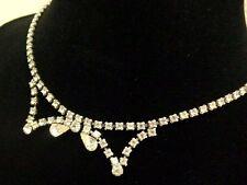 Vintage Rhinestone Silver Tone Bow Design Wedding Necklace Jewelry Lot F