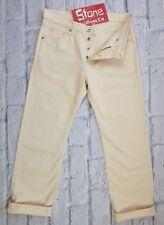 Edwin 12oz Heavy Duty Cream Jeans Button Fly Straight Leg W36 L30 £170 New