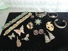 VINTAGE SILVER JEWELRY LOT * MEXICO, STERLING, .925, SIGNED PCS. * RESALE    #21