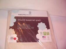 "New Naturepedic Bassinet Pad 15""x33"" Organic Cotton Waterproof Mattress Mbs1533"
