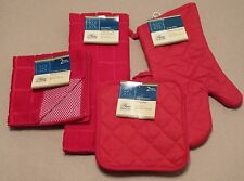 Kitchen Accessory Set Towel Dish Cloth Scrubbie Pot Holder Oven Mitt Red NEW