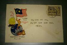 Malaysia 1957 Merdeka Malaya Tunku Abdul Rahman stamp FDC Penang Chop Ship Tiger