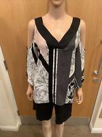 River Island Black & White Bare Shoulder Short Sleeve Top - UK Ladies Size 10 bx