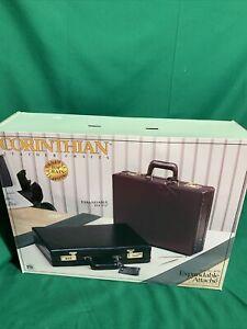 Corinthian Leather Briefcase Combination Lock Expandable Attache Hard Case 3b