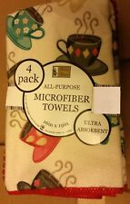 """4 pc SET Microfiber Kitchen Towels (16""""x19"""") COFFEE CUPS, red by BH"""
