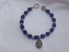"VIRGO Charm Bracelet Zodiac Blue Glass Bead Sterling Silver Flower Clasp 8"""