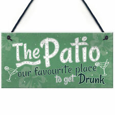Funny Garden Patio Sign Alcohol Hanging Plaque Door Shed Home Novelty Gift Decor