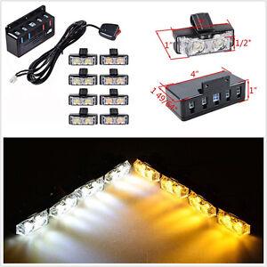 8In1 Super Bright Amber+White 2-LED Car Grille Strobe Flashing Light Beacon Lamp