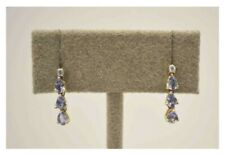 14kt Yellow Gold Tanzanite & Diamond Dangle Earrings