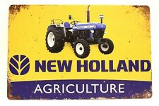 New Holland Agriculture Tin Poster Sign Farm Equipment Man Cave Tractor Farmer