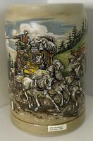 Beautiful Vintage German Beer Stein Stoneware Mug Horses Wagon Wanderfalken 1990