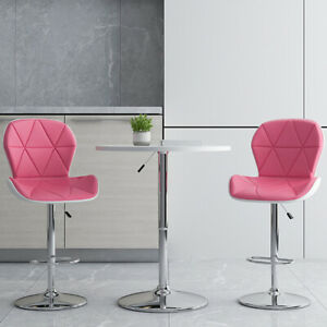 Set of 2 Bar Stools PU Leather Pink Hydraulic Barstools W/ Curved Back Lift Seat