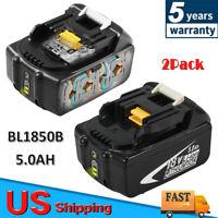 For Makita BL1850B-2 18-Volt 5.0Ah LXT L.E.D. Lithium-Ion Charging Battery, 2-Pk