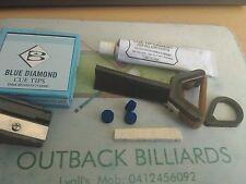 CUE TIP REPAIR 2 x 10 mm GENUINE BLUE DIAMOND GLUE ON TIPS+SHAVER/INSTRUCT/CLAMP