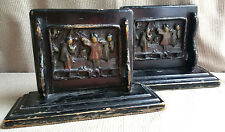 Antique Chinese Carved Wood Black Lacquer Book Ends