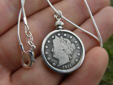 Necklace Pendant various dates vintage  LIBERTY Nickel V coin sterling  chain