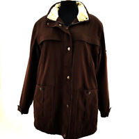 Giacca Mid Length Brown All Weather Fully Lined Womens Zip Up Coat Size Medium
