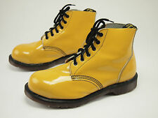 1990s DR. MARTENS Vintage Yellow Patent Leather Steel-toe Lace Boot UK 8 - US 9