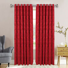 Luxury Jacquard Eyelet Ring Top Fully Lined Ready Made Bedroom Curtains Pair