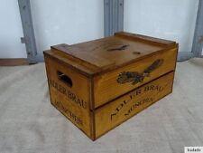 nr.c5 BAULE CON COPERCHIO ~ AQUILA Bräu MONACO ~ cassa per legna vintage