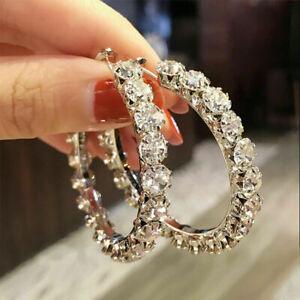 5 Ct White Brilliant Cut Moissanite Large Hoop Earrings In 14k White Gold Finish