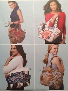 Butterick Sewing Pattern B5658 Tote Purses Lined Pockets Snap Uncut Gifts 2011