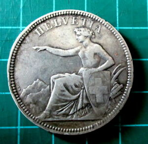 1874 SWITZERLAND SILVER 5 FIVE FRANC COIN