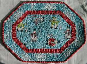 Handcrafted Quilted Table Runner Topper- WINTER SNOWMAN SNOWFLAKE FOREST FRIEND