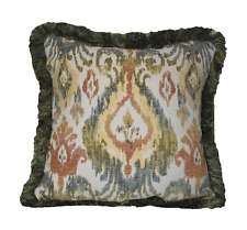 southwestern abstract floral fringed chenille decorative throw pillow