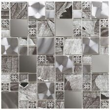 Cut down sample of silver leaf random mix glass & metal mosaic tiles
