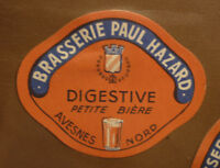 1950s FRENCH BEER LABEL, BRASSERIE HAZARD AVESNES SUR HELPE FRANCE, DIGESTIVE