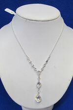 Charter Club Necklace Faceted Glass Beads Rhinestones Statement Pendant Silver