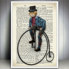 CAT ANIMAL BIKE PENNY FARTHING BICYCLE VINTAGE DICTIONARY STYLE ART PRINT POSTER