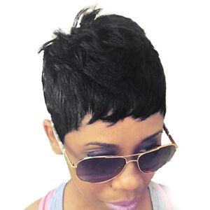 Natural Human Hair Short Straight Black Pixie Cut Full Hair Wig For Women